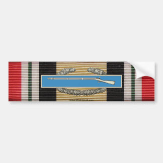 Iraq Campaign Medal Ribbon & CIB Sticker Bumper Sticker
