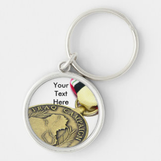 Iraq Campaign Medal Silver-Colored Round Key Ring