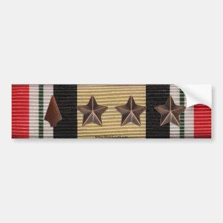 Iraq Campaign Ribbon Arrowhead & 3 Battle Stars Bumper Sticker