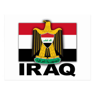 Iraq Coat of Arms Flag Postcard