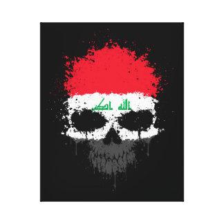 Iraq Dripping Splatter Skull Canvas Print