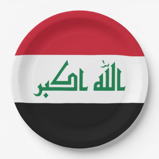 Iraq Flag 9 Inch Paper Plate