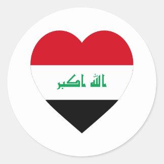 Iraq Flag Heart Classic Round Sticker