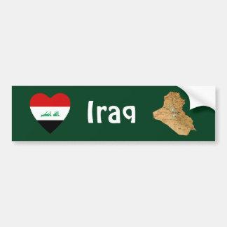 Iraq Flag Heart + Map Bumper Sticker