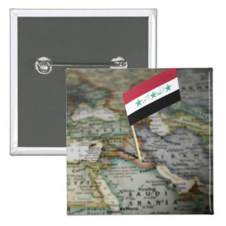 Iraq flag in map 15 cm square badge