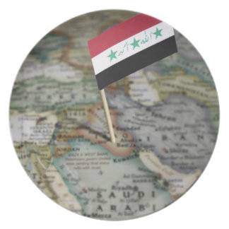 Iraq flag in map dinner plate