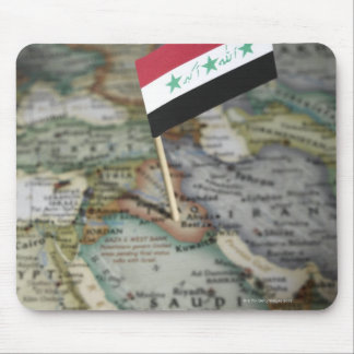 Iraq flag in map mouse pad