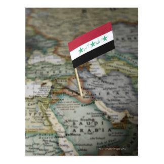 Iraq flag in map postcard
