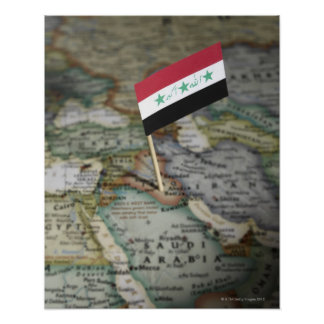 Iraq flag in map poster