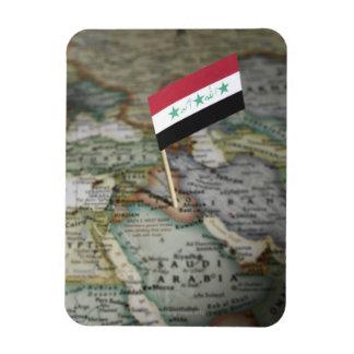 Iraq flag in map rectangular photo magnet