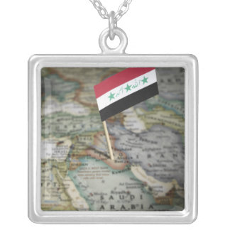 Iraq flag in map silver plated necklace
