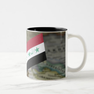 Iraq flag in map Two-Tone coffee mug