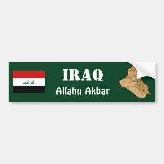 Iraq Flag + Map Bumper Sticker