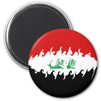 Iraq Gnarly Flag 6 Cm Round Magnet