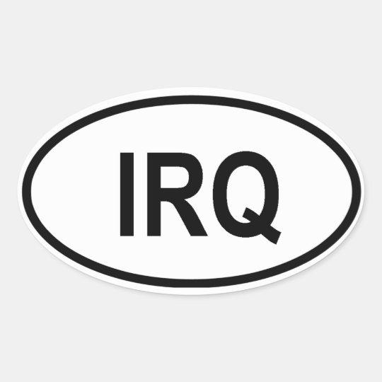 """Iraq """"IRQ"""" Oval Sticker"""
