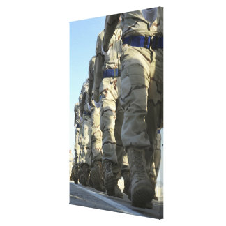 Iraqi air force recruits march stretched canvas print