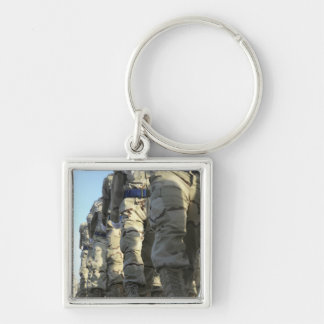 Iraqi air force recruits march Silver-Colored square key ring