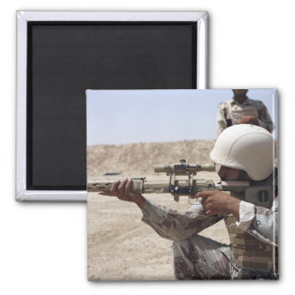 Iraqi Army Sergeant sights in down range 2 Square Magnet