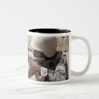 Iraqi Army Sergeant sights in down range 2 Two-Tone Coffee Mug