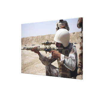 Iraqi Army Sergeant sights in down range Canvas Print