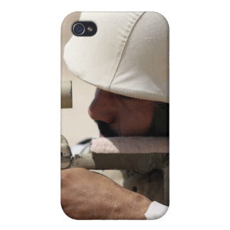 Iraqi Army Sergeant sights in down range iPhone 4 Covers