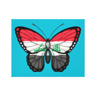 Iraqi Butterfly Flag on Green Gallery Wrapped Canvas