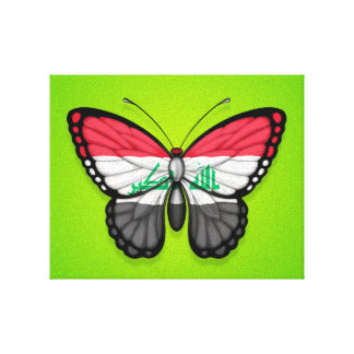 Iraqi Butterfly Flag on Green Canvas Print