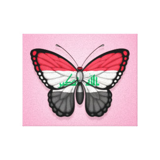 Iraqi Butterfly Flag on Pink Canvas Prints