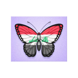 Iraqi Butterfly Flag on Purple Gallery Wrap Canvas