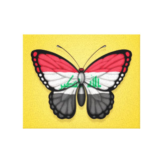 Iraqi Butterfly Flag on Yellow Stretched Canvas Print