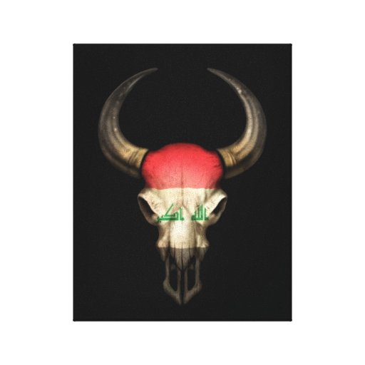 Iraqi Flag Bull Skull on Black Canvas Print