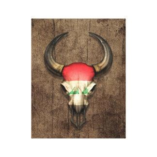 Iraqi Flag Bull Skull on Wood Effect Canvas Prints