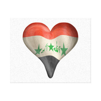 Iraqi Flag In A Heart Gallery Wrap Canvas