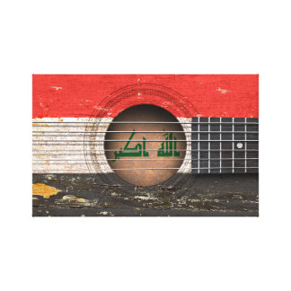 Iraqi Flag on Old Acoustic Guitar Stretched Canvas Prints