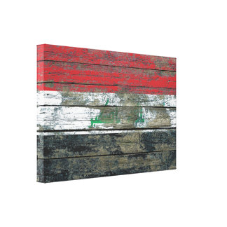 Iraqi Flag on Rough Wood Boards Effect Canvas Print