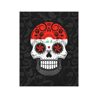 Iraqi Flag Sugar Skull with Roses Stretched Canvas Prints