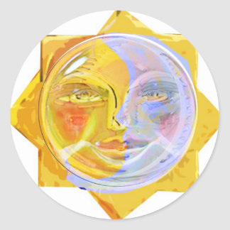 Iredescent SUN and Moon Round Sticker