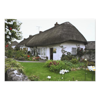 Ireland, Adare. Thatched-roof cottage Photo Print