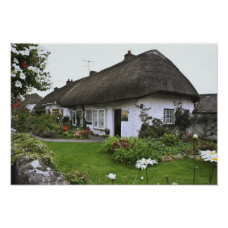 Ireland, Adare. Thatched-roof cottage Poster