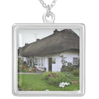 Ireland, Adare. Thatched-roof cottage Silver Plated Necklace