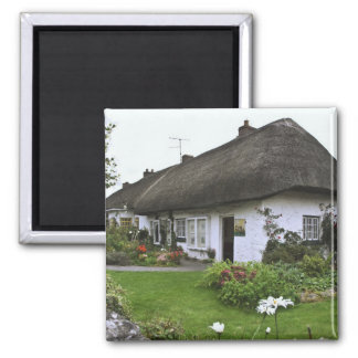 Ireland, Adare. Thatched-roof cottage Square Magnet