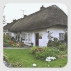 Ireland, Adare. Thatched-roof cottage Square Sticker