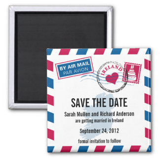 Ireland Air Mail Wedding Save the Date Square Magnet