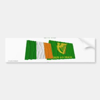 Ireland and Erin Go Bragh Waving Flags Bumper Sticker