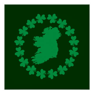 Ireland and Shamrocks Print