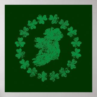 Ireland and Shamrocks Posters