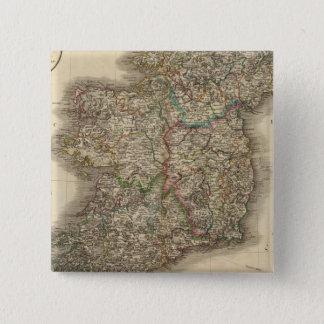 Ireland Atlas Map 15 Cm Square Badge