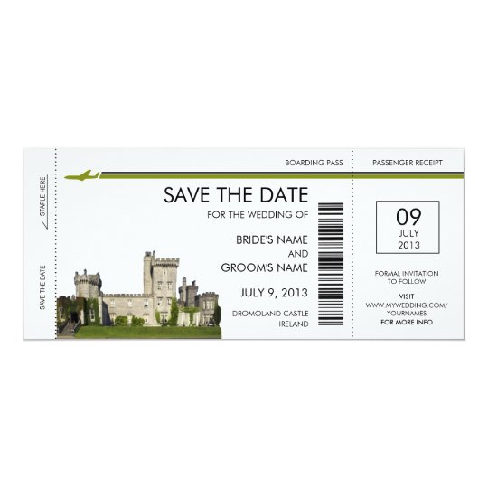 Ireland Boarding Pass Save the Date Invitations