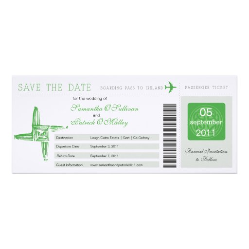 Ireland Boarding Pass Wedding Save the Date Invitations
