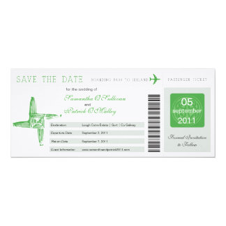 "Ireland Boarding Pass Wedding Save the Date 4"" X 9.25"" Invitation Card"